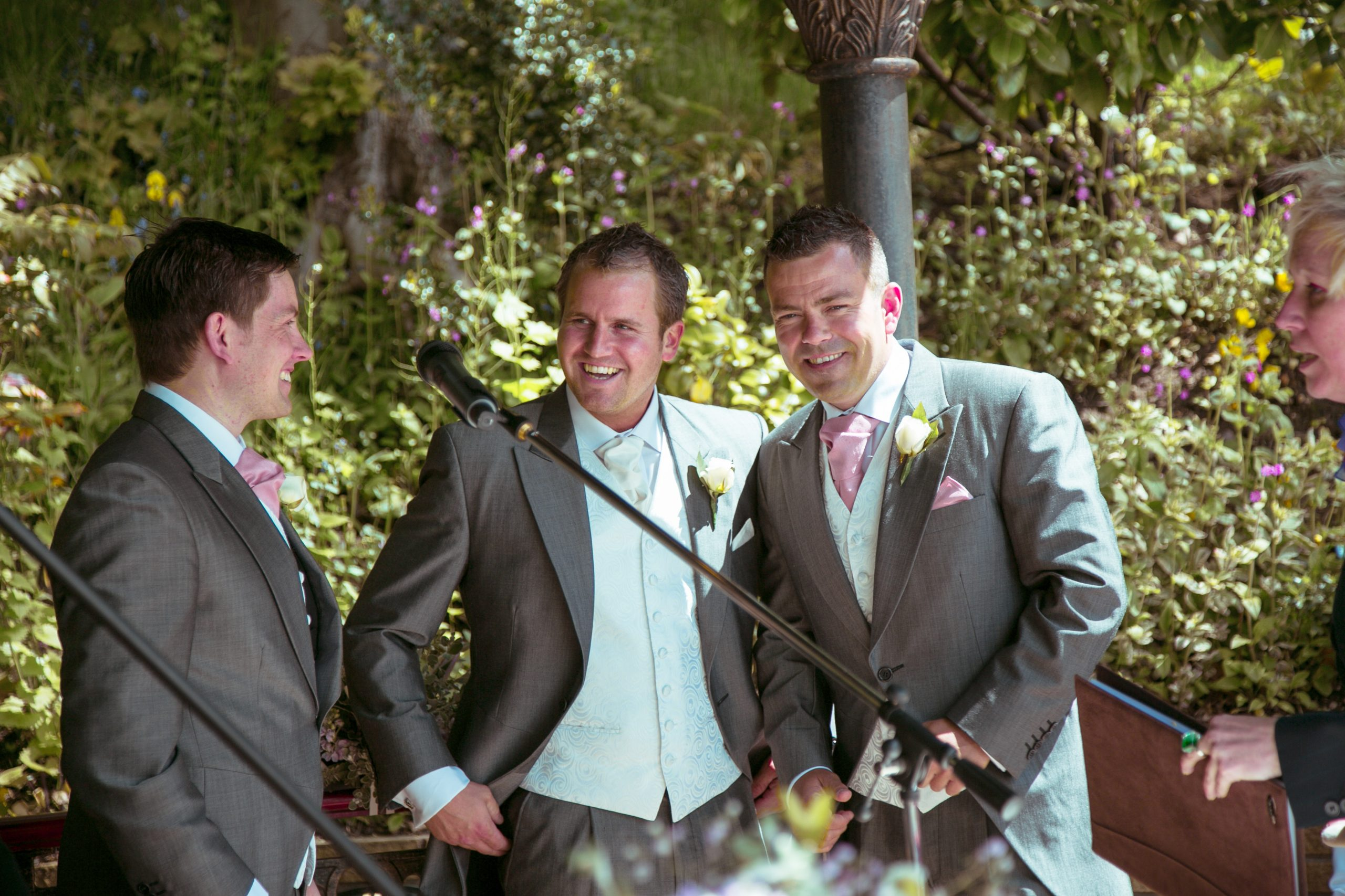 Happy groom and best man at grimscote manor
